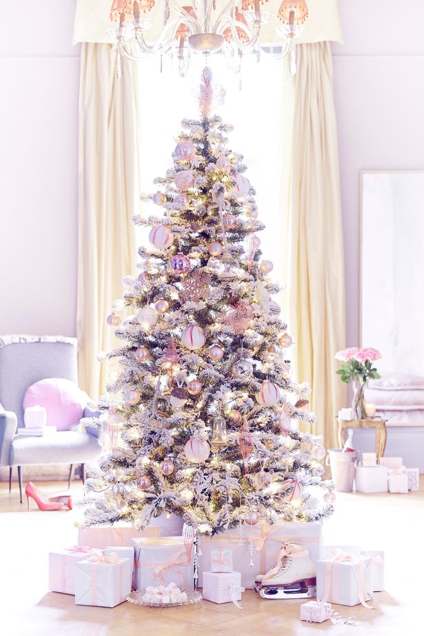 White-Christmas-tree-with-pink-and-purple-and-gold-decoration