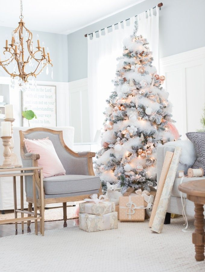 White-Christmas-tree-with-pink-decoration