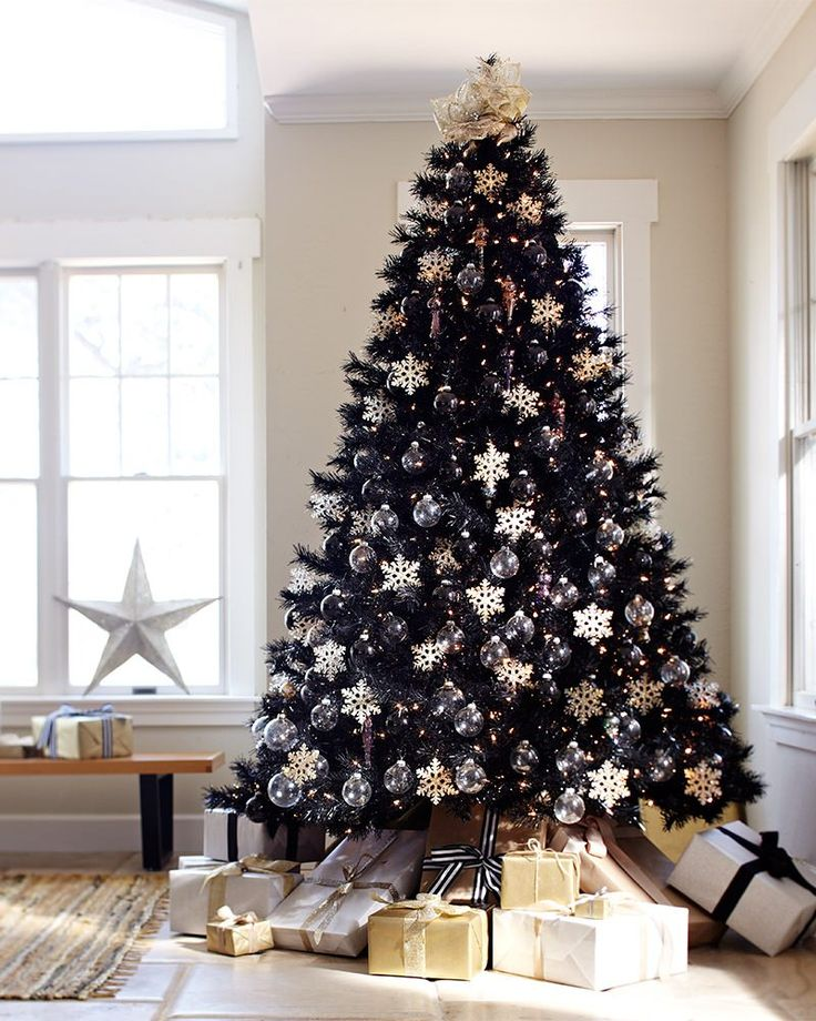 black-christmas-trees-with-white-and-gold-decoration