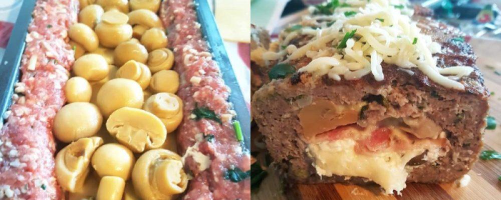Ρολό κιμά γεμιστό με τυριά, μπέικον και μανιτάρια σε φόρμα