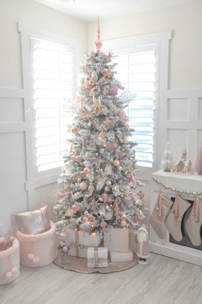 white-christmas-with-pink-decorations-and-gold-lights